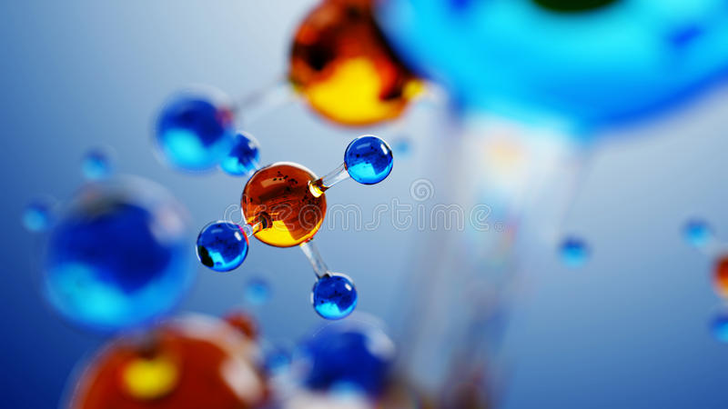 3d illustration of molecule model. Science background with molecules and atoms. stock illustration