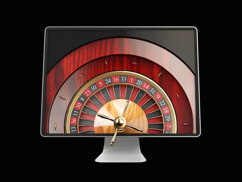 3d illustration of Monitor with casino roulette wheel on screen. Gambling app concepts. vector illustration
