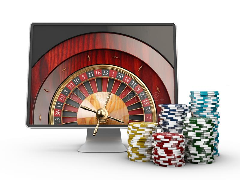 3d illustration of Monitor with casino roulette wheel on screen. Gambling app concepts, isolated white. stock illustration