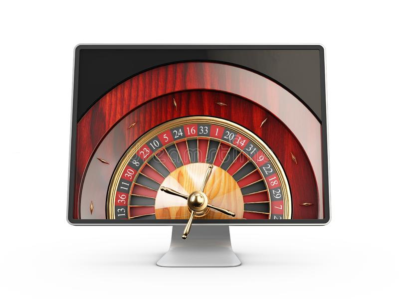 3d illustration of Monitor with casino roulette wheel on screen. Gambling app concepts, isolated white. vector illustration