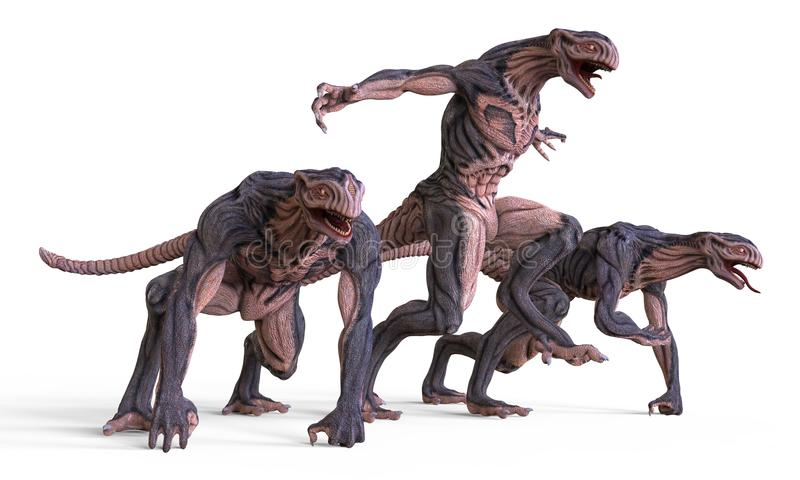 3D Illustration Monsters. 3D Illustration Of A Monsters on White stock illustration
