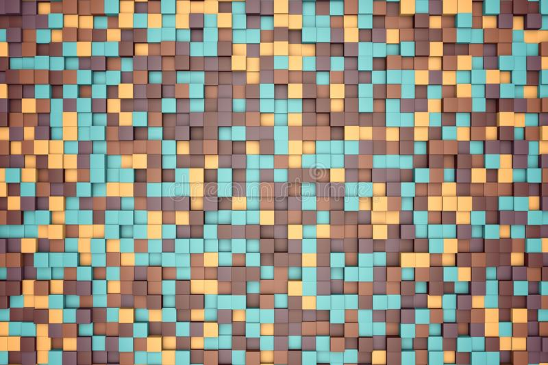 3d illustration: mosaic abstract background, colored blocks brown, green, beige, orange, yellow color. Range of shades. small squa vector illustration