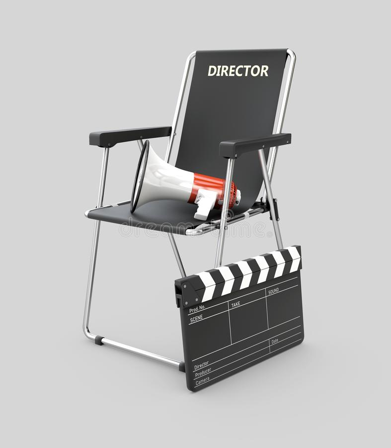 3d Illustration of movie director chair with clapperboard and megaphone.  royalty free stock image