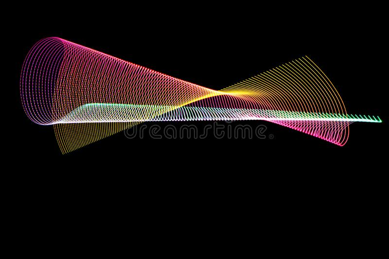 3d illustration. Multicolored abstract lines on black background. Light painting photography. Futuristic patterns stock photos