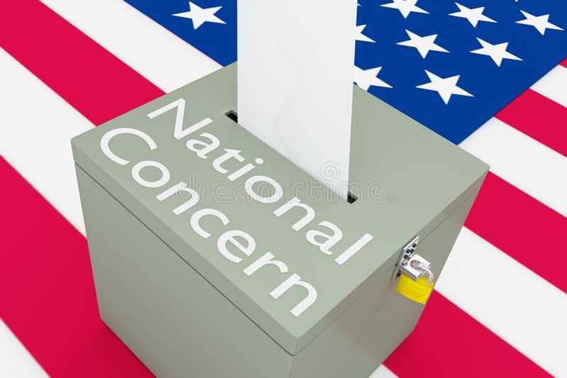 National Concern concept. 3D illustration of National Concern script on a ballot box, and an voting envelope been inserted into the ballot box, isolated over a stock illustration