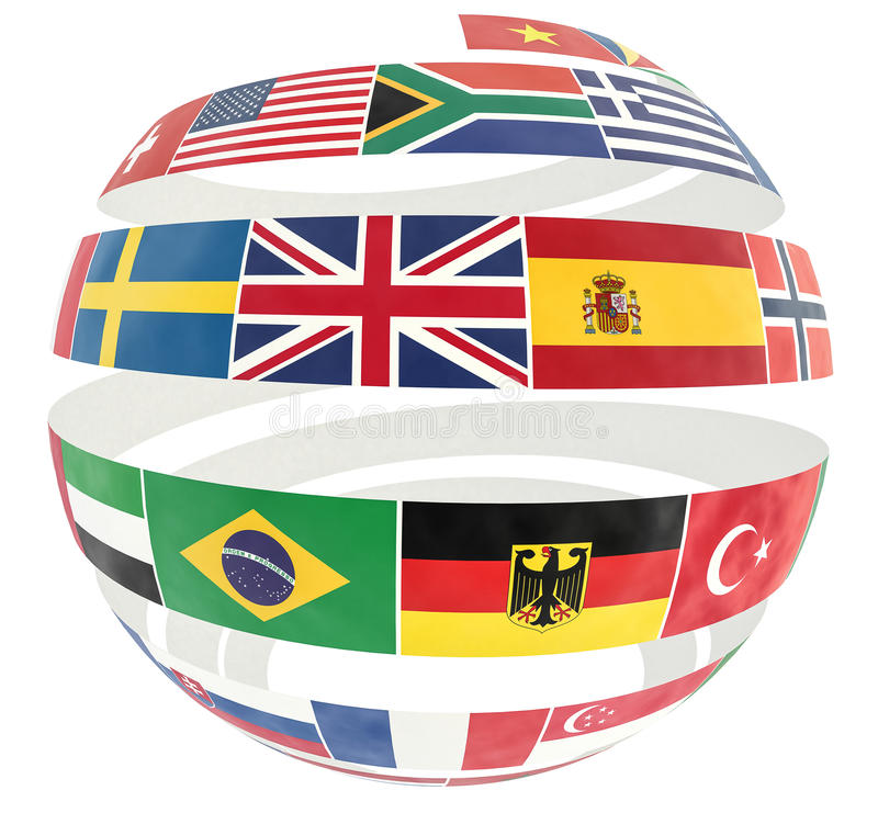 3D illustration of National flags twisted as spiral globe. Isolated on white royalty free illustration