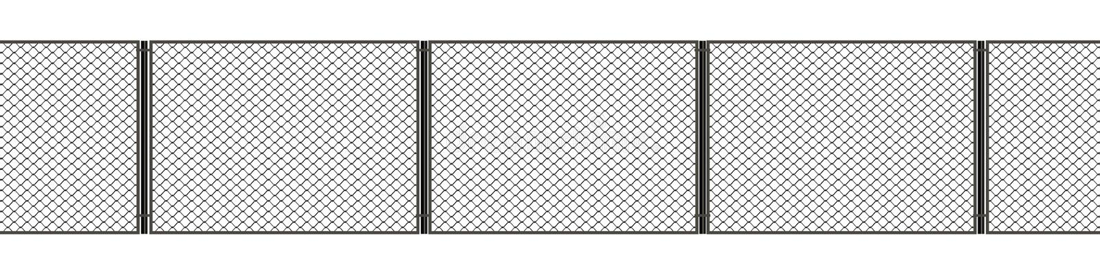 3d illustration. Net metal fence on a white background stock illustration