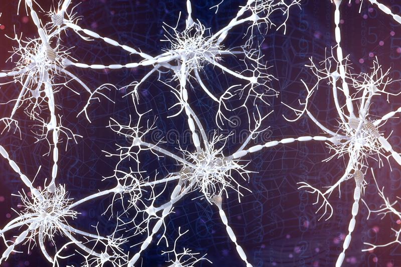 3d illustration of neural networks on a digital background. Concept of artificial intelligence stock illustration