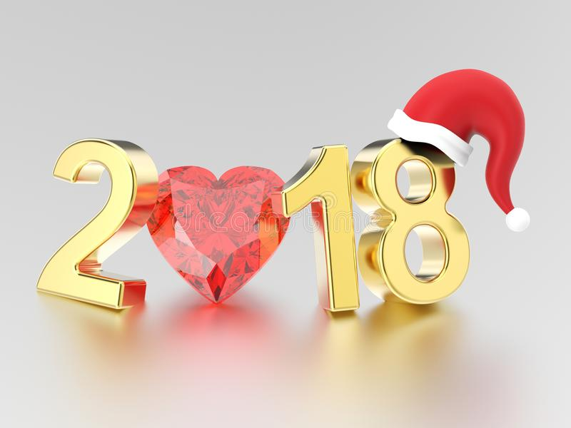 3D illustration new year 2018 gold numbers in the Christmas Santa Claus hat and a red diamond heart stock illustration