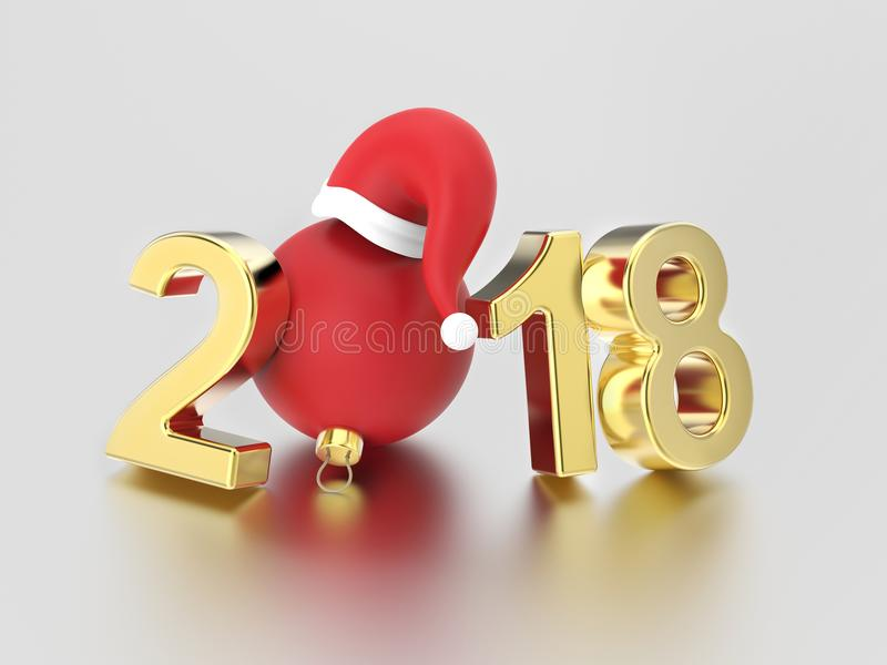 3D illustration new year 2018 gold numbers and a red Christmas b stock illustration