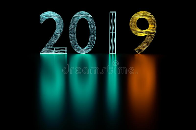 3d illustration 2019 New Year wireframe neon light. royalty free stock photos