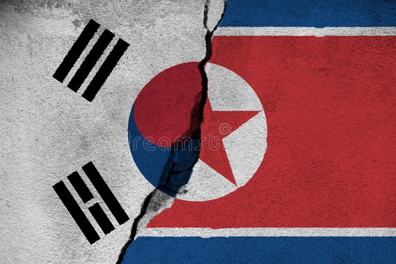 3d illustration North And South Korea relationships stock photo