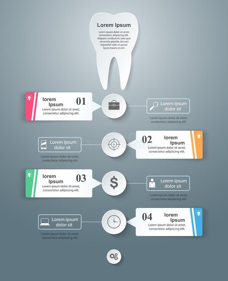 3D illustration numérique abstraite Infographic Icône de dent illustration stock