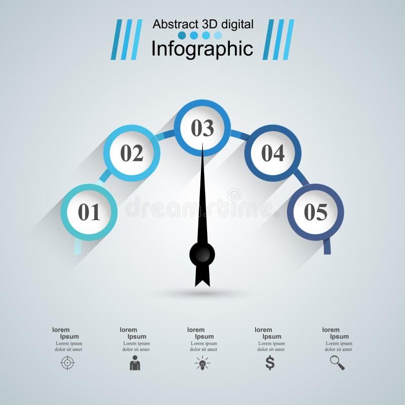 3D illustration numérique abstraite Infographic Icône de tachymètre illustration libre de droits