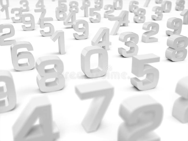 3D Illustration - 3D numbers on white background - focus on number one. 3D numbers on white background - focus on number one royalty free illustration