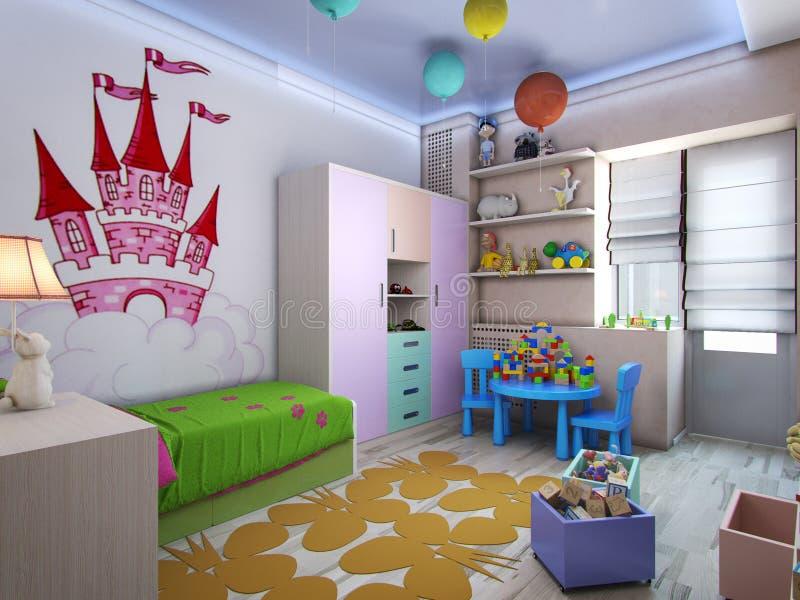 3d illustration nursery for girls in pastel colors. 3d rendering nursery for girls in pastel colors royalty free illustration