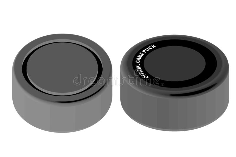 3d illustration of official game puck on white background stock illustration