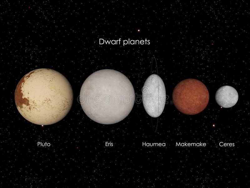 Dwarf planets stock illustration