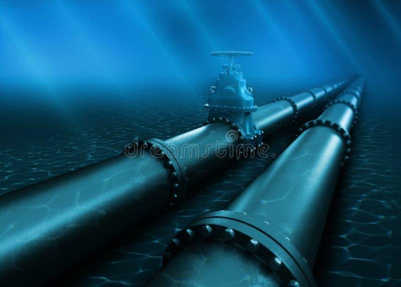 3d Illustration of oil pipeline lying on ocean bottom under water vector illustration