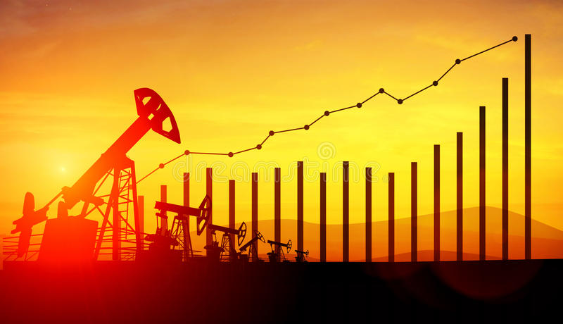3d illustration of oil pump jacks on sunset sky background. Concept of growing oil prices. 3d illustration of oil pump jacks and financial analytics charts and stock photo