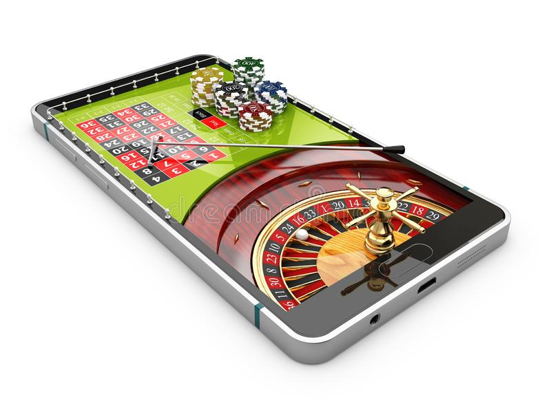 3d illustration of online Internet casino app, roulette with chips on the phone, isolated white stock photography