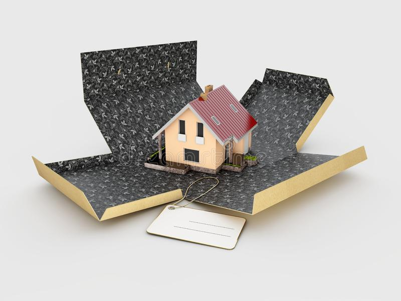 3d Illustration of open cardboard box with house on white background.  stock photo