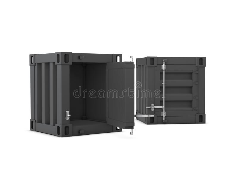 3D illustration of open and close container cabinet isolated white royalty free illustration