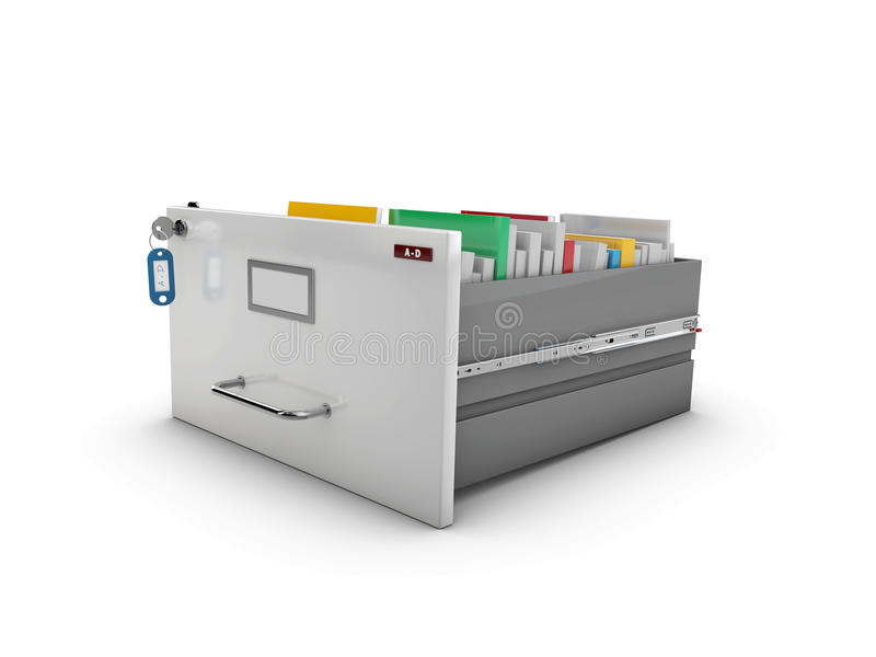 3d Illustration of the open drawer with books.  vector illustration