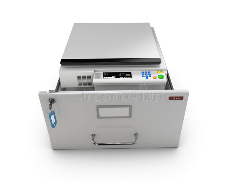 3d Illustration of open drawer with copy machine inside.  stock illustration