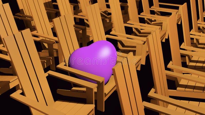 Orange Adirondack chairs. 3D illustration orange Adirondack chairs with pink heart stock illustration