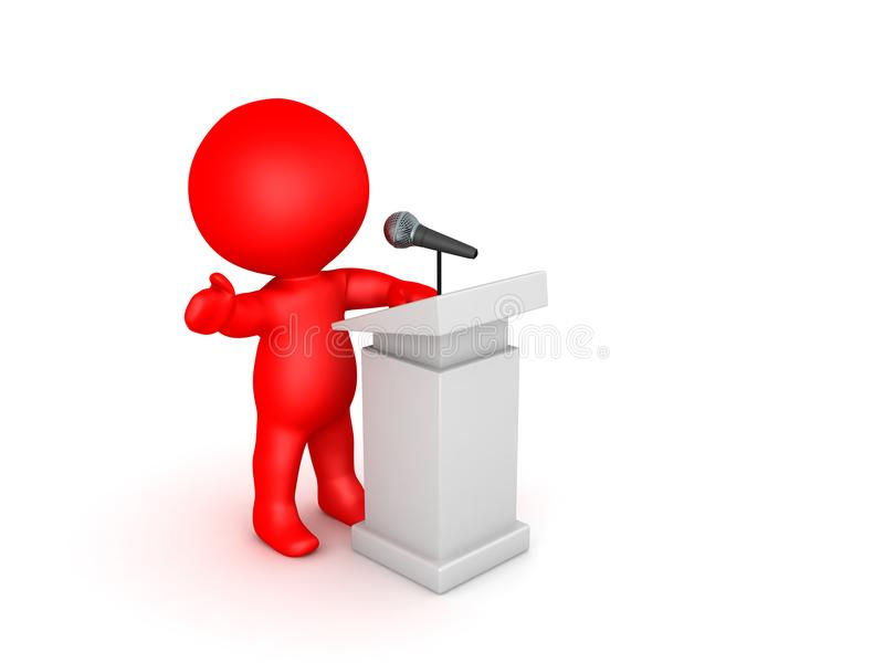 3D illustration of an orator speaking at a microphone vector illustration