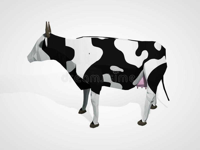 Download 3D Illustration Of Origami Cow Polygonal Geometric Style Standing Full Length Holstein