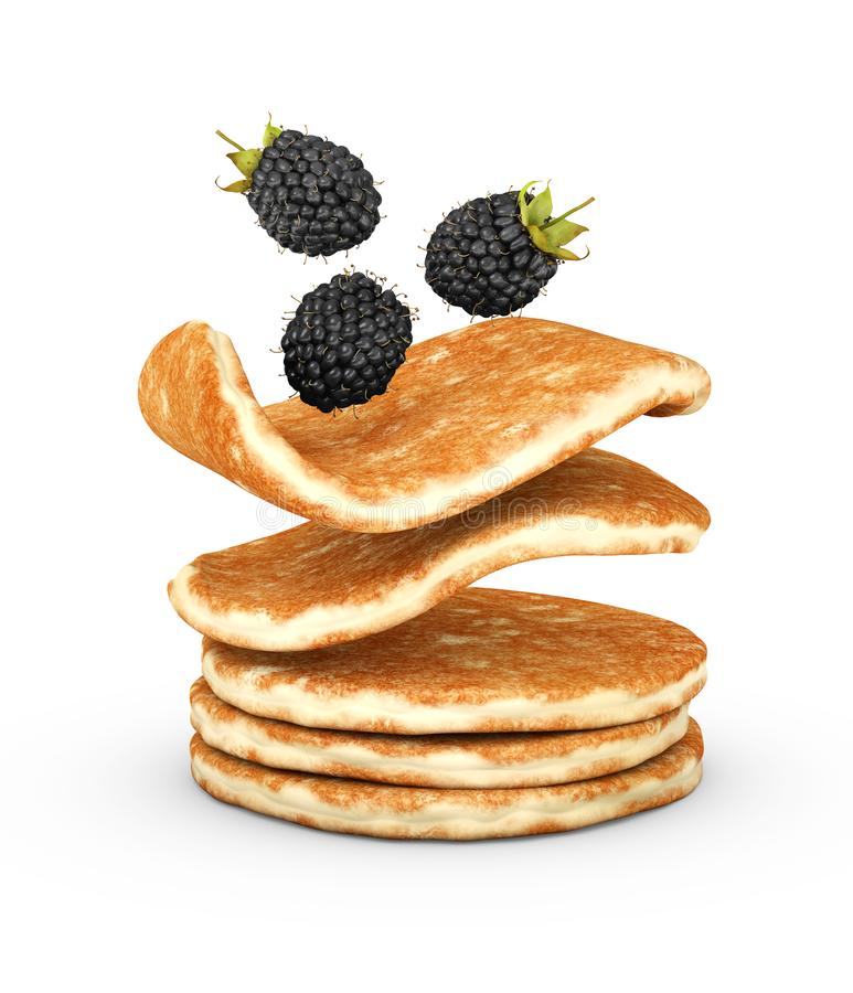 3d Illustration of pancake with fresh blackberry isolated on white background royalty free stock photos