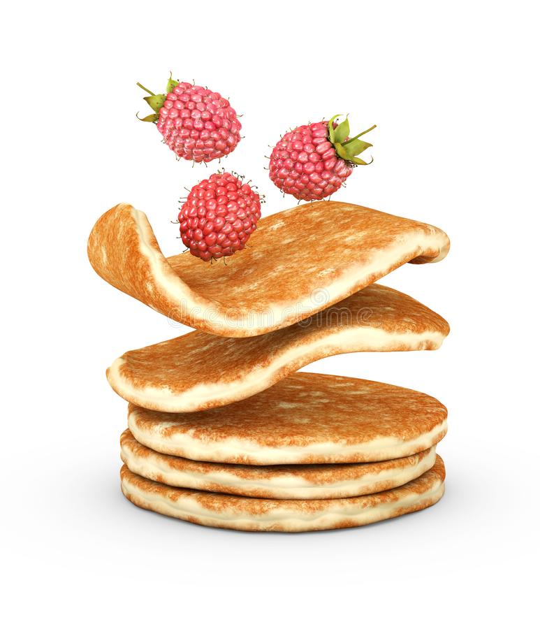 3d Illustration of pancake with fresh raspberries isolated on white background stock images