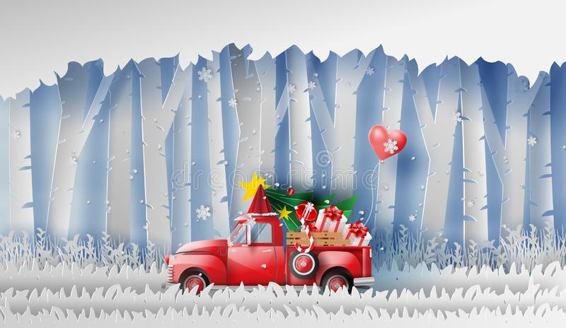 3D illustration of paper art Red Classic pickup truck car by gift,Christmas tree and balloon winter season forest.Happy new year. And Merry Christmas day vector illustration