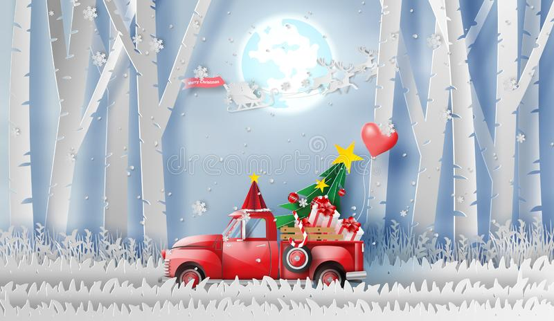 3D illustration of paper art Red Classic pickup truck car by gift,Christmas tree and balloon winter season forest.Happy new year. And Merry Christmas day royalty free illustration