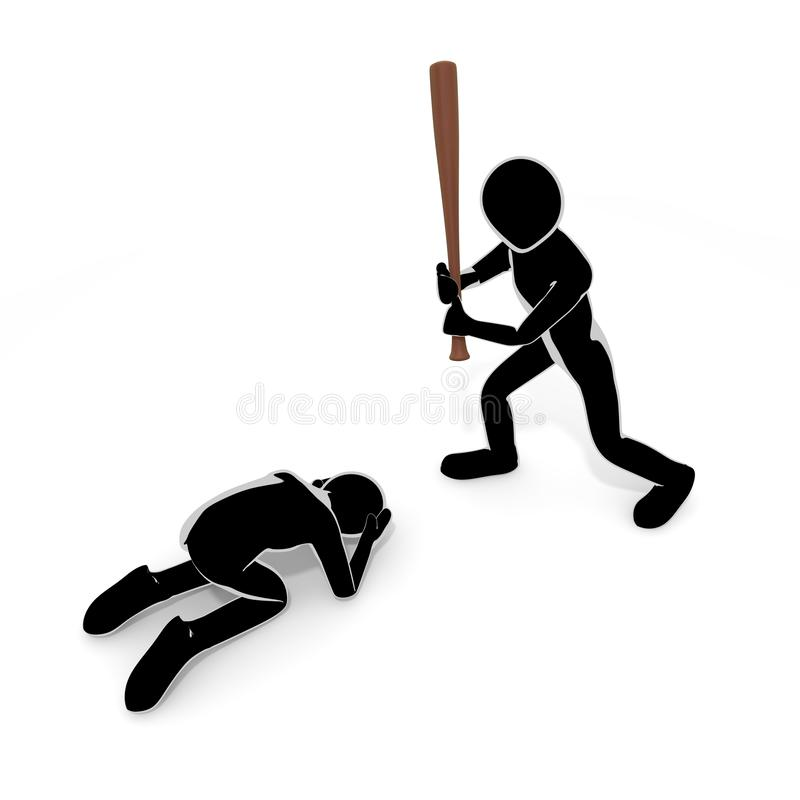 3D illustration People who violence in bats. Violent person. Attack others. To chase injury. A person who breaks things. Destroy objects. Commit a crime. Enjoy stock illustration