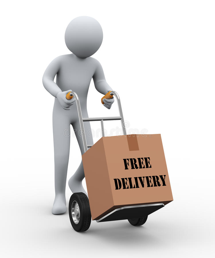 3d man hand truck free delivery royalty free illustration