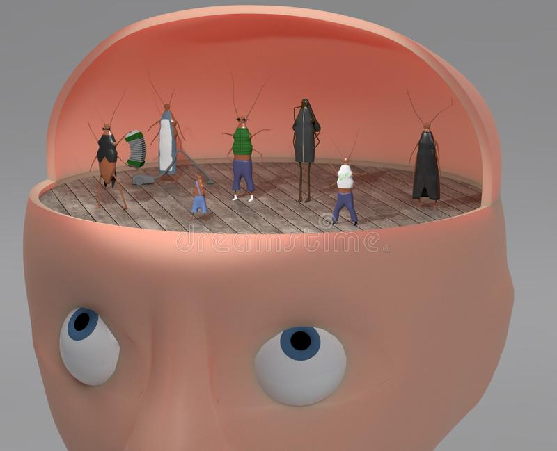 3d illustration of person with other faces like cockroach inside for inner voices and multiply personalities concept royalty free illustration