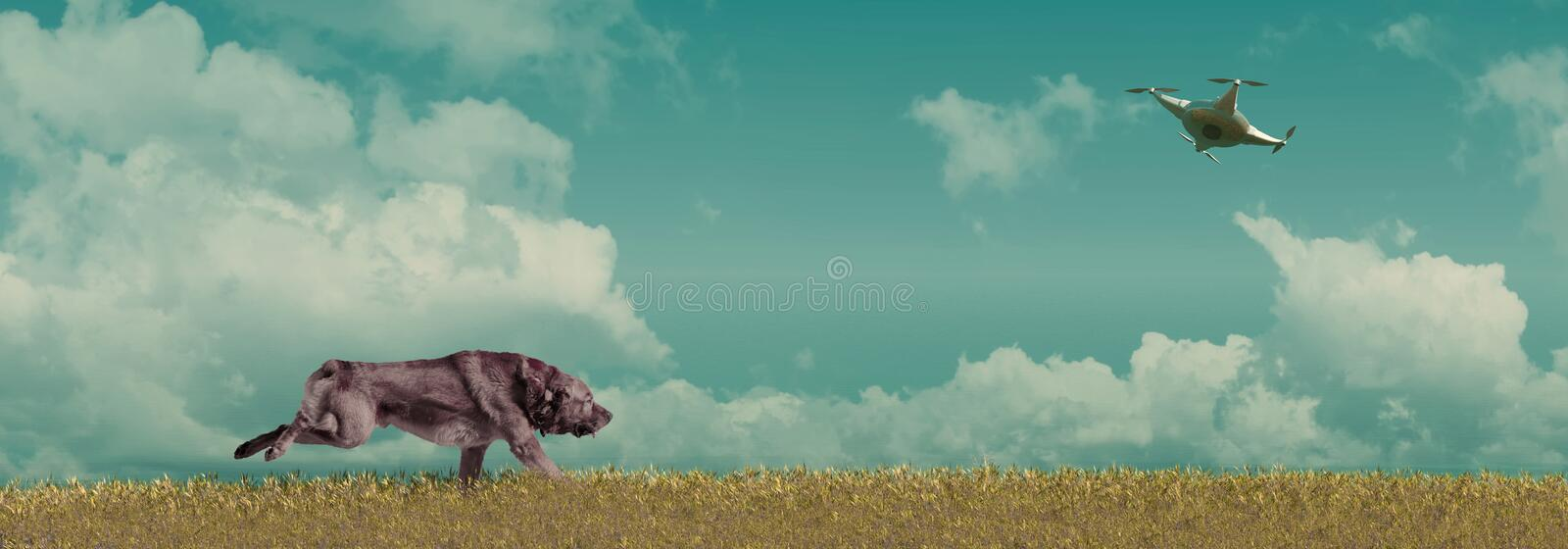 Pet animals, dogs. 3d illustration of pet animals, brown dog playing with dron stock illustration