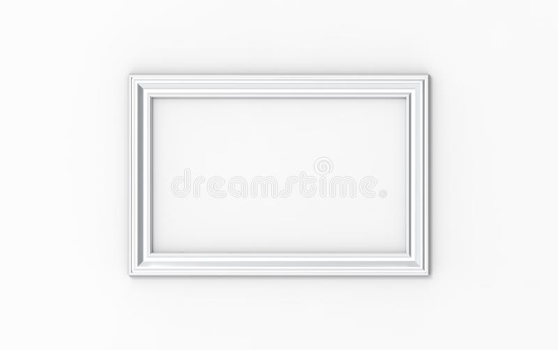3d illustration of a rectangular picture frame on white background stock photo