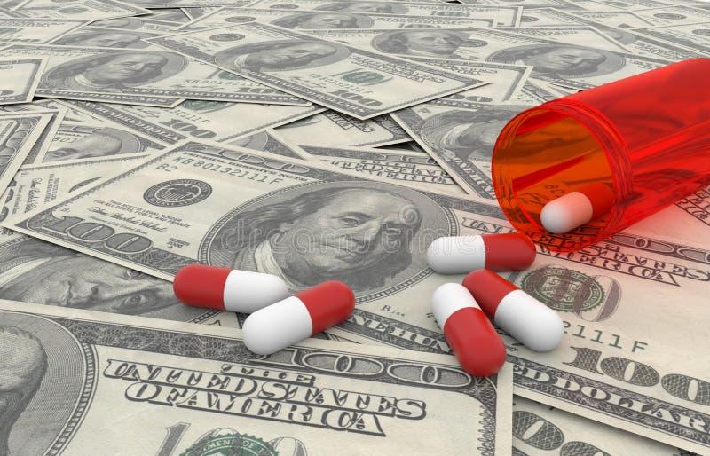 Pills over dollars bills with white background stock illustration