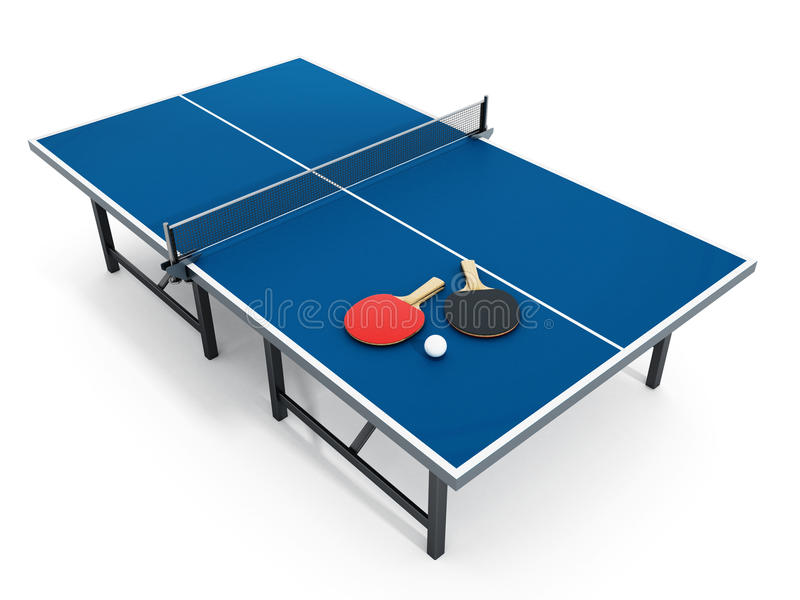 3D illustration of Ping pong table, rackets and ball. royalty free illustration