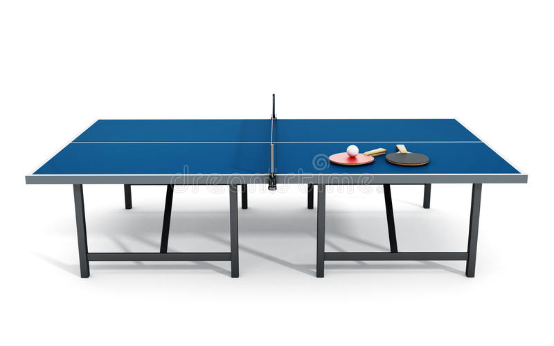 3D illustration of Ping pong table, rackets and ball. vector illustration