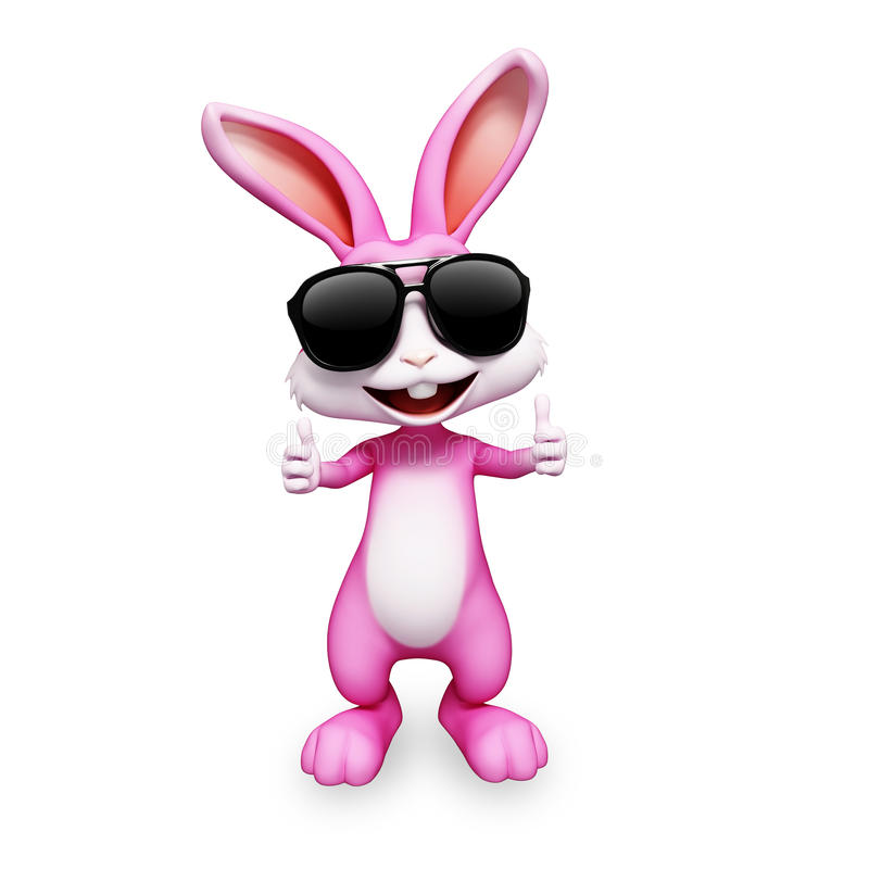Pink bunny with best luck sign stock illustration
