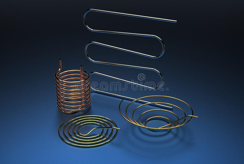 3d illustration of pipe coils. On durk blue background vector illustration