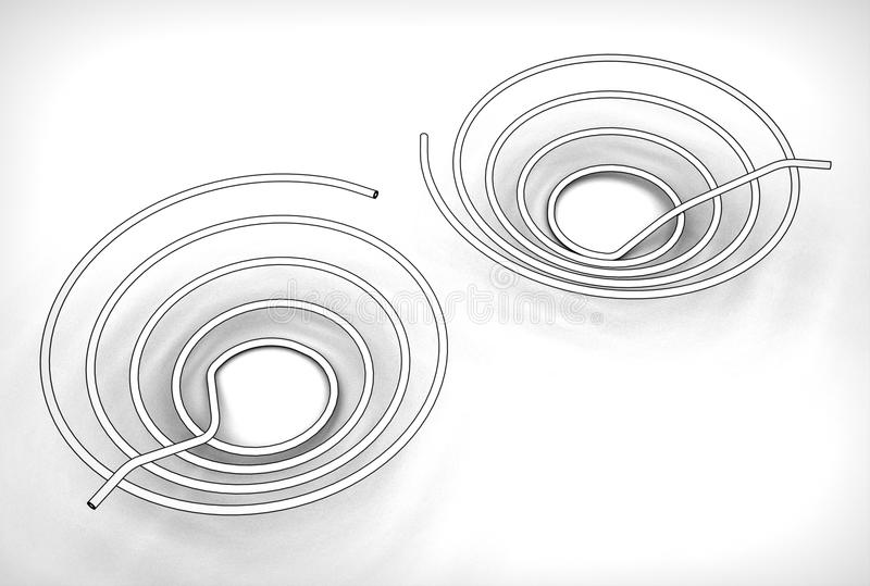 3d illustration of the pipe coils. On white background stock illustration