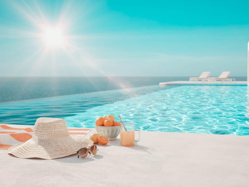 3D-Illustration piscine de luxe moderne d'infini avec des accessoires d'?t? illustration de vecteur