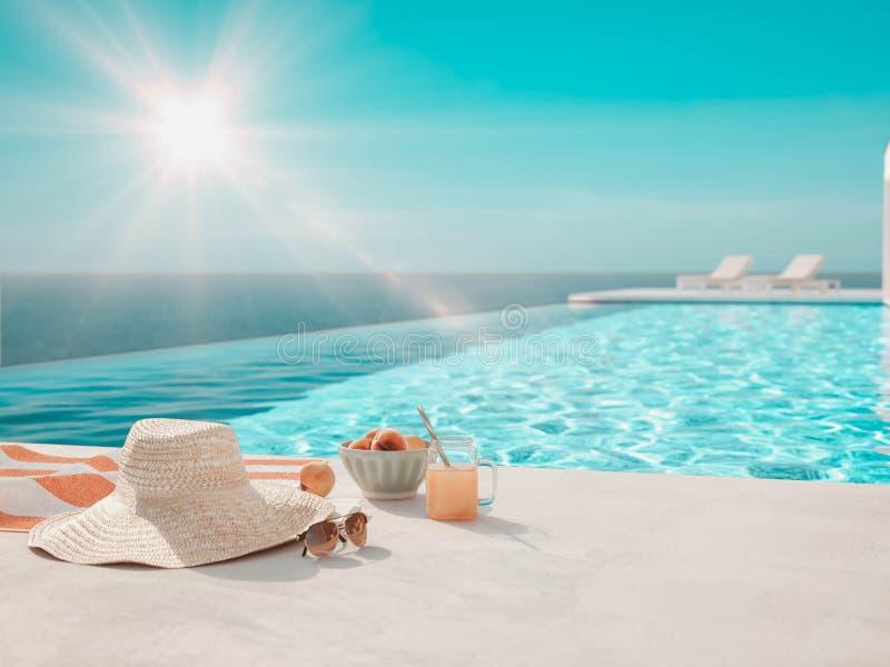 3D-Illustration piscine de luxe moderne d'infini avec des accessoires d'?t? illustration libre de droits
