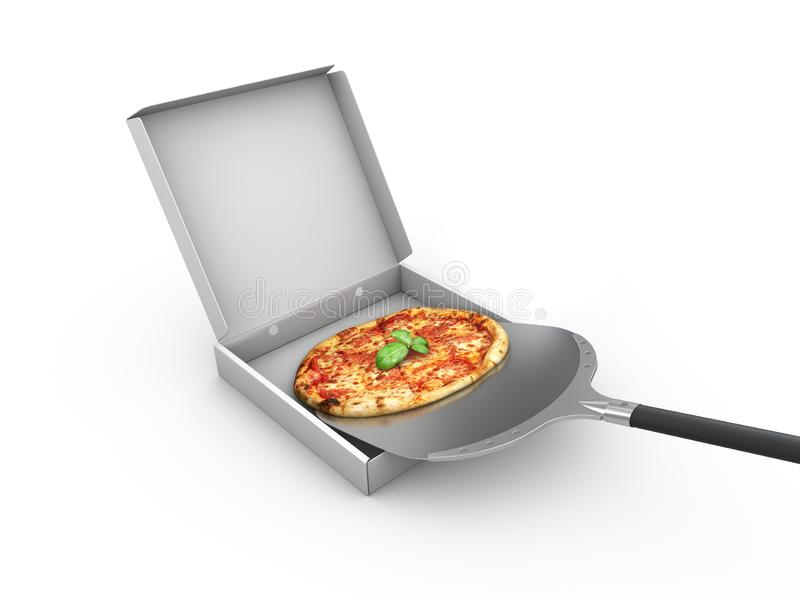3d illustration of Pizza in a cardboard box, Pizza delivery. Pizza menu. royalty free stock photography